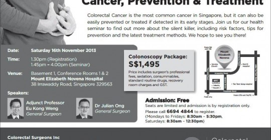 Health Seminar on Colorectal Cancer, Prevention & Treatment